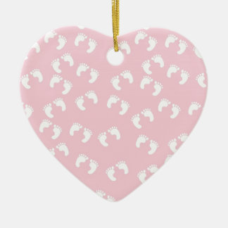 Pink and White Baby Feet - Baby Shower Print Ceramic Ornament