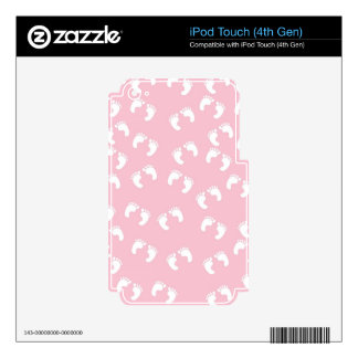 Pink and White Baby Feet - Baby Shower Print iPod Touch 4G Skins