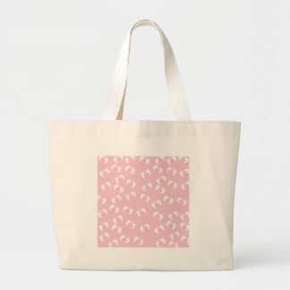 Pink and White Baby Feet - Baby Shower Print Large Tote Bag