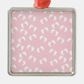 Pink and White Baby Feet - Baby Shower Print Metal Ornament
