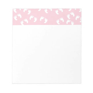 Pink and White Baby Feet - Baby Shower Print Notepad