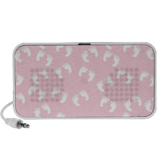 Pink and White Baby Feet - Baby Shower Print Portable Speaker
