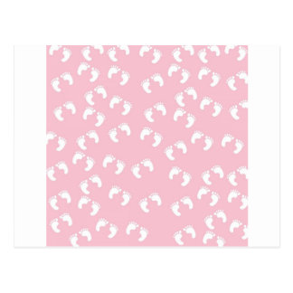 Pink and White Baby Feet - Baby Shower Print Postcard