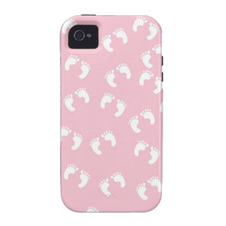 Pink and White Baby Feet - Baby Shower Print Vibe iPhone 4 Case