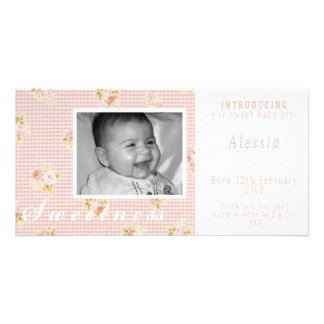 Pink and White Baby Girl Announcement Personalized Photo Card