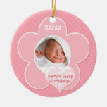 """Pink and White """"Baby's First Christmas"""" Ornament"""