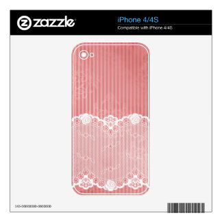 Pink and white background with black lace decals for the iPhone 4S