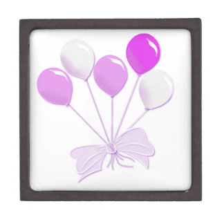 Pink and white balloons keepsake box
