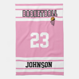 Pink and White Basketball Kitchen Towel