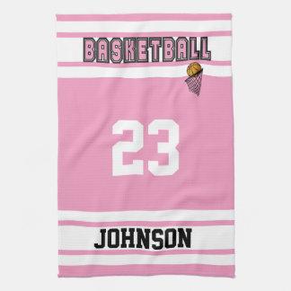 Pink and White Basketball Hand Towel