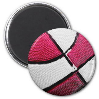Pink and White Basketball Magnet