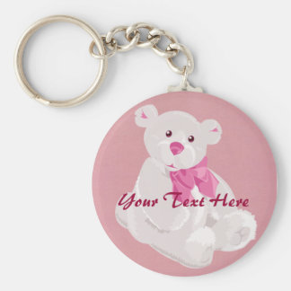 Pink and White Bear Keychain