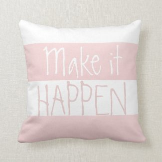 Pink And White Big Striped Pattern Quote Pillow