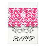 pink and white bird damask pattern invitation