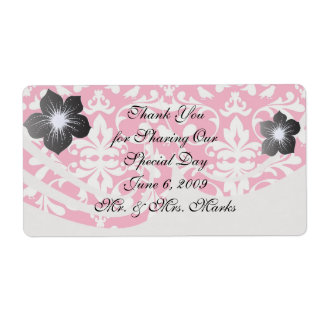 pink and white bird damask pattern shipping label