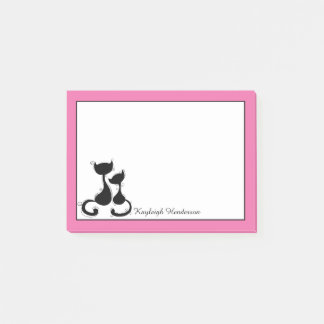 Pink and White Black Cats Silhouette Personalized Post-it Notes