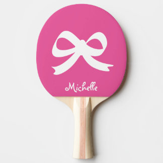 Pink and white bow table tennis ping pong paddle