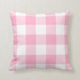 Pink and White Buffalo Check Accent Pillow