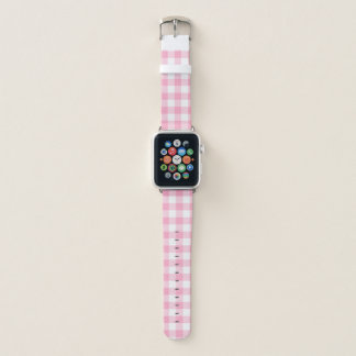 Pink and White Buffalo Check Apple Watch Band