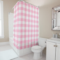 Pink and White Buffalo Check Shower Curtain