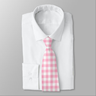 Pink and White Buffalo Check Tie