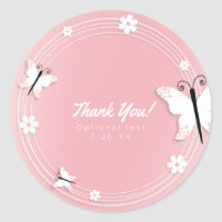 Pink and White Butterflies & Flowers Custom Favor Classic Round Sticker
