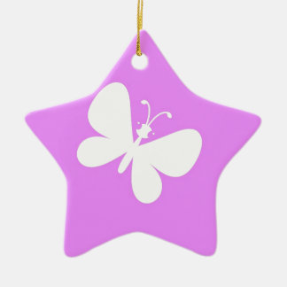 Pink And White Butterfly Ceramic Ornament