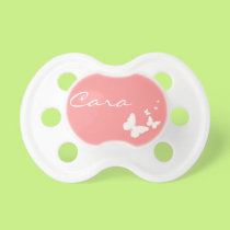 Pink and White Butterfly Personalized Baby Pacifer Pacifier