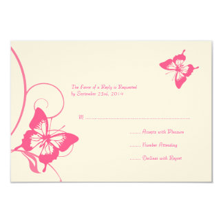 Pink and White Butterfly Wedding RSVP Card