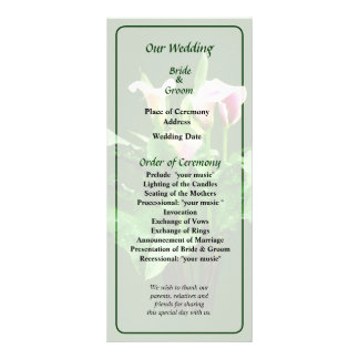 Pink and White Calla Lilies Wedding Program Full Color Rack Card