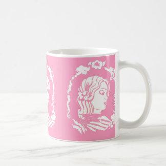 Pink and White Cameo Mug Drinkware