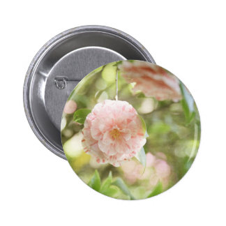 Pink and White Camillia Flowers on Green Flowers Pinback Button