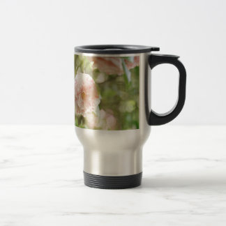 Pink and White Camillia Flowers on Green Flowers Mug