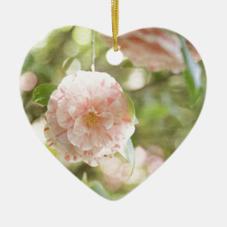 Pink and White Camillia Flowers on Green Flowers Christmas Ornaments