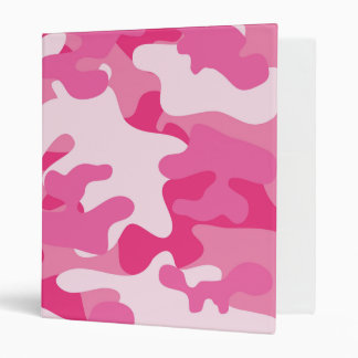 Pink and White Camo Design 3 Ring Binder