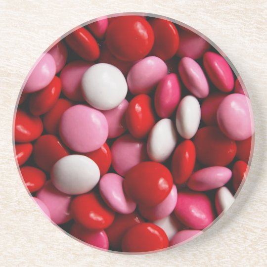 Pink and White Candy Pattern Drink Coaster