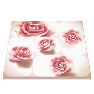 Pink and White Candy Rose Collage Canvas Print