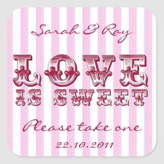 Pink and white Candy stripe love is sweet sticker
