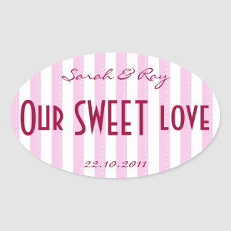 Pink and white Candy stripe love sticker