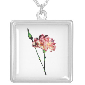 Pink and White Carnation with Bud Square Pendant Necklace