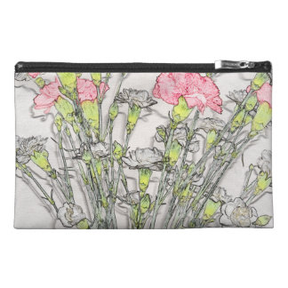 Pink and White Carnations Travel Accessory Bag