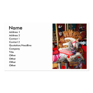 Pink and white carousel horse photograph fair Double-Sided standard business cards (Pack of 100)