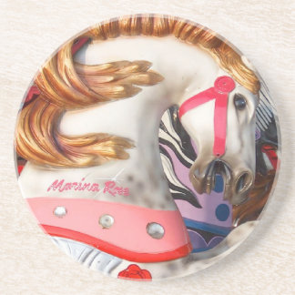 Pink and white carousel horse photograph fair drink coaster