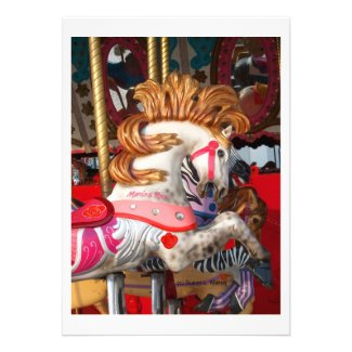 Pink and white carousel horse photograph fair personalized invites