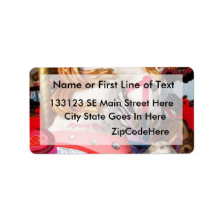 Pink and white carousel horse photograph fair address label