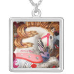 Pink and white carousel horse photograph fair custom jewelry