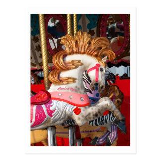 Pink and white carousel horse photograph fair postcard