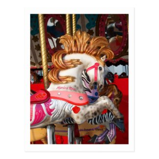 Pink and white carousel horse photograph fair postcard