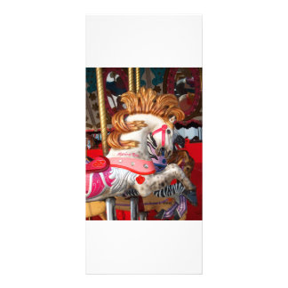 Pink and white carousel horse photograph fair custom rack card