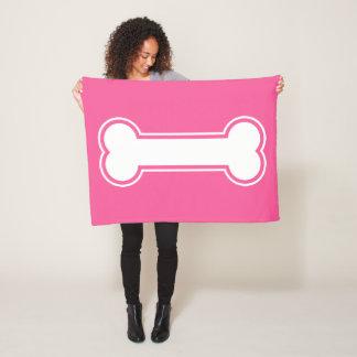 Pink And White Cartoon Dog Bone Fleece Blanket